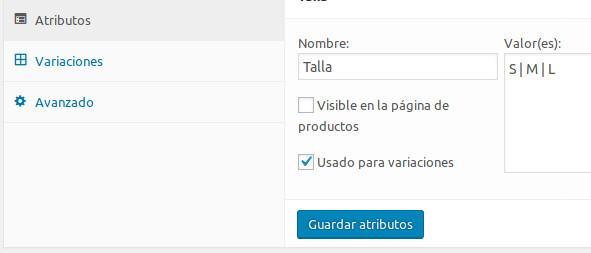 Atributos de productos variables en WooCommerce