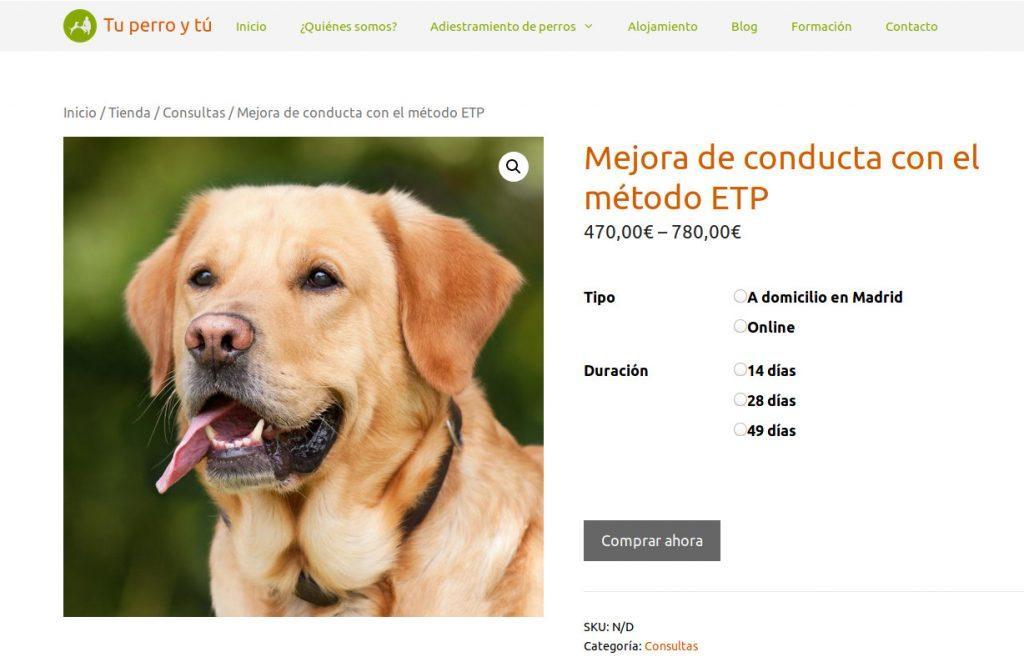 Productos variables de WooCommerce en la tienda de Tu perro y tú
