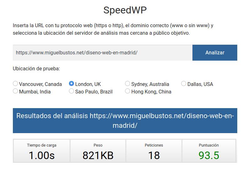 En este análisis de carga de la página de diseño web magnético se puede ver que sólo hace 18 peticiones y tarda 1 segundo en cargar.