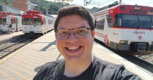 Miguel en la estación de ferrocarril de Cercedilla